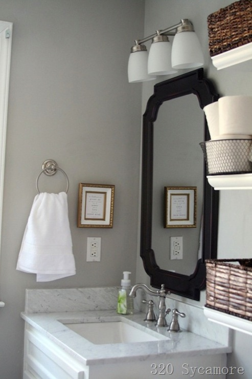 bathroom with gray walls paint color white bathroom vanity painted