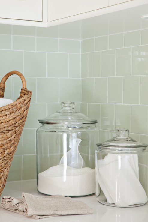 Green Subway Tile Backsplash Contemporary Laundry Room