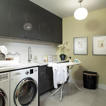 Gray and Yellow Room, Contemporary, laundry room, Kelly Deck Design