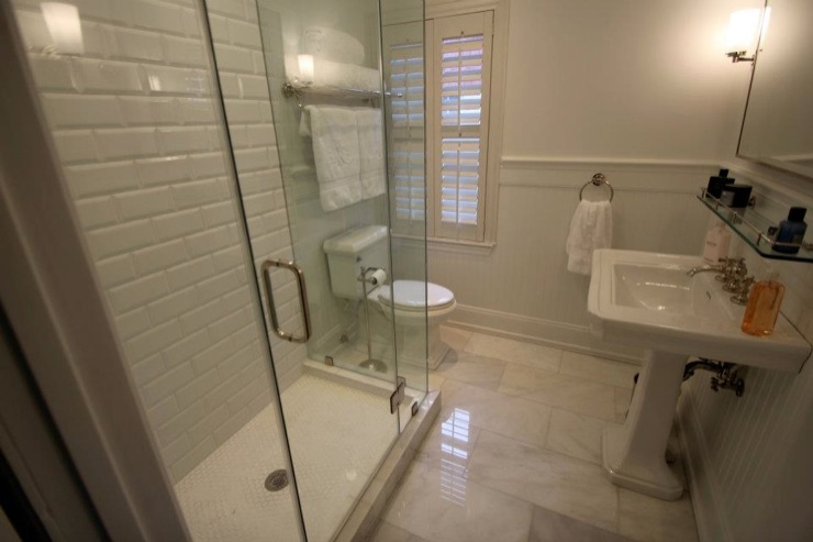 View Full Size Bathroom Restoration Hardware Bathroom With Beveled Subway Tile And Carrara Marble Flooring