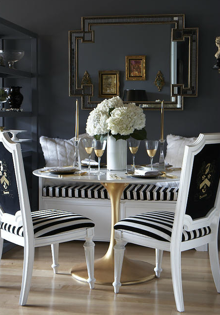 Black and white dining room eclectic dining room the for Black and white dining room decor