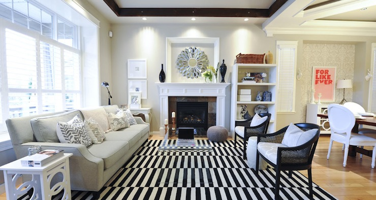 Black And White Striped Rug Transitional Living Room Andrea Johnson Design