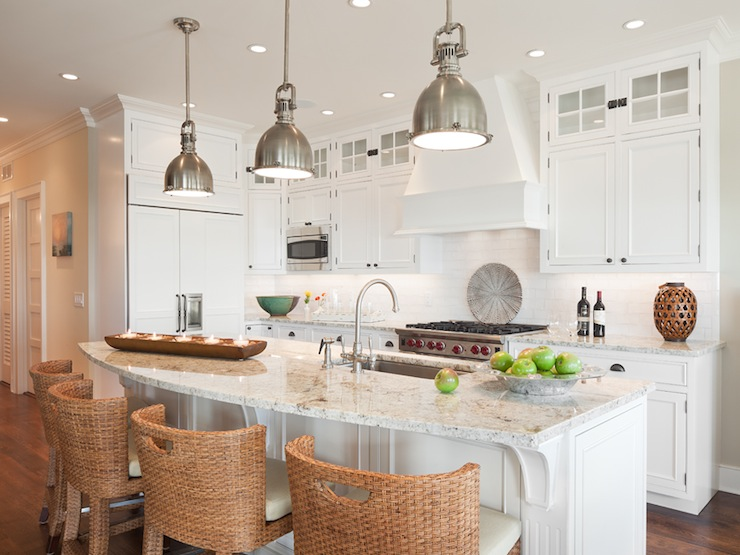 White granite countertops cottage kitchen richard Best pendant lights for white kitchen