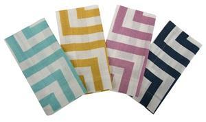 Herringbone Printed Linen Napkins in Various Colors by Simrin, Simrin, Napkins, Thomas Paul