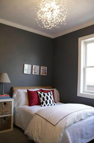 Used Bedroom Sets >> Charcoal Gray Walls - Contemporary - bedroom - Behr Antique Tin - Alexandra Berlin Design