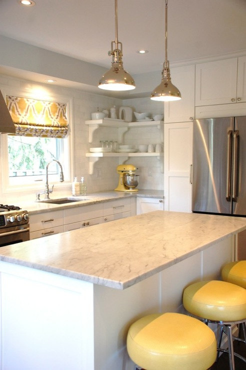 excellent white kitchen yellow accents | Yellow and Gray Kitchen - Contemporary - kitchen - Kate ...