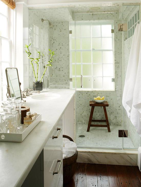 glass shower teak stool in shower mosaic marble tiles shower