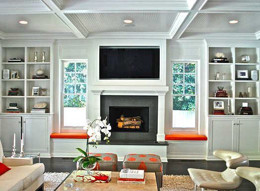 Chic living room with beadboard lined white built-ins