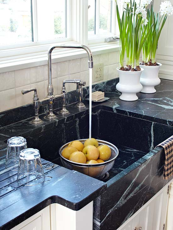 Soapstone Sink Transitional kitchen BHG