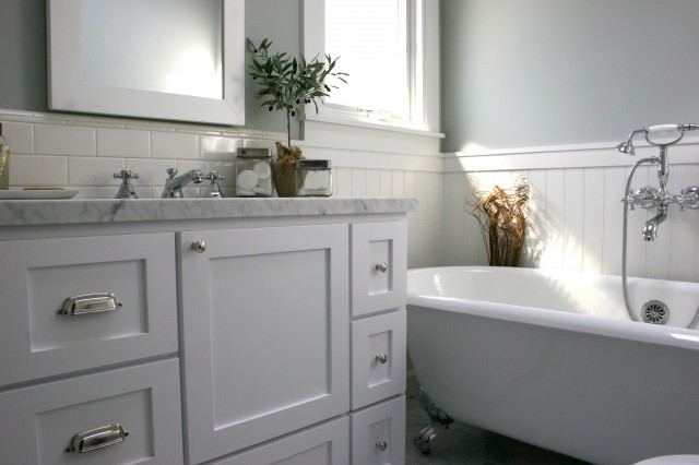 Spa Like Bathroom With Green Gray Walls Paint Color Glossy Subway Tiles Backsplash White Double Bathroom Vanity With Marble Countertops White Wood Framed