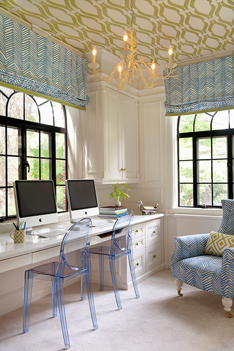 Fantastic office for two with phillip jeffries voyage collection arches green wallpaper ceiling white desk cabinets ballard designs coral chandelier