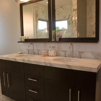 Vanity Design Ideas amazing cheap bathroom vanity design ideas with double frameless mirror and open tier shelves wall unit Espresso Double Vanity