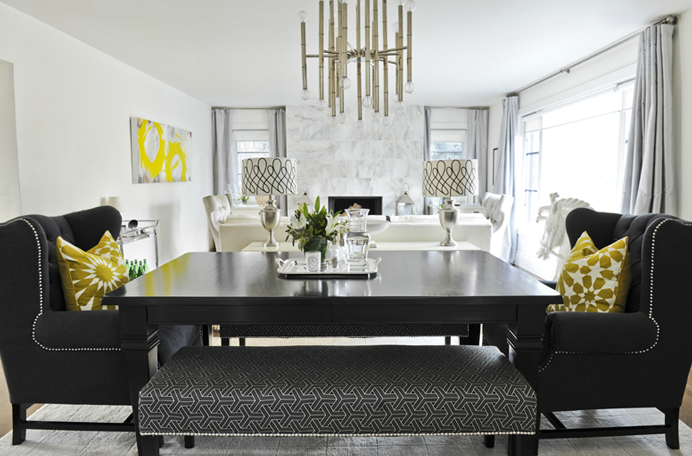 Gorgeous Dining Room With Ebony Stained Table Black Tufted Wingback Captain Chairs Nailhead Trim Jonathan Adler Meurice Chandelier