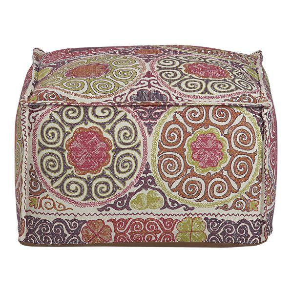 marrakesh pouf in new furniture crate and barrel. Black Bedroom Furniture Sets. Home Design Ideas