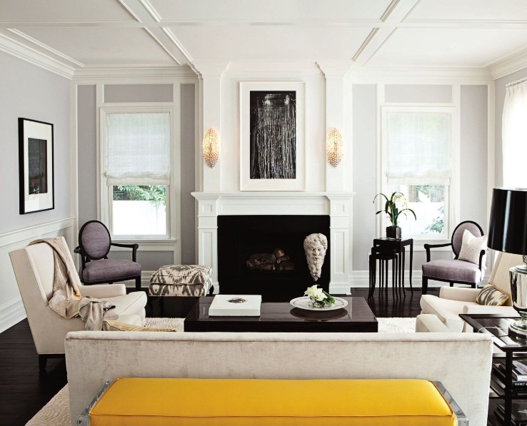 yellow bench transitional living room jackson paige interiors