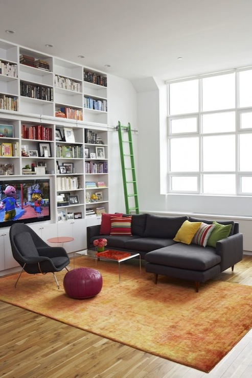 Built In Bookshelves Transitional Living Room