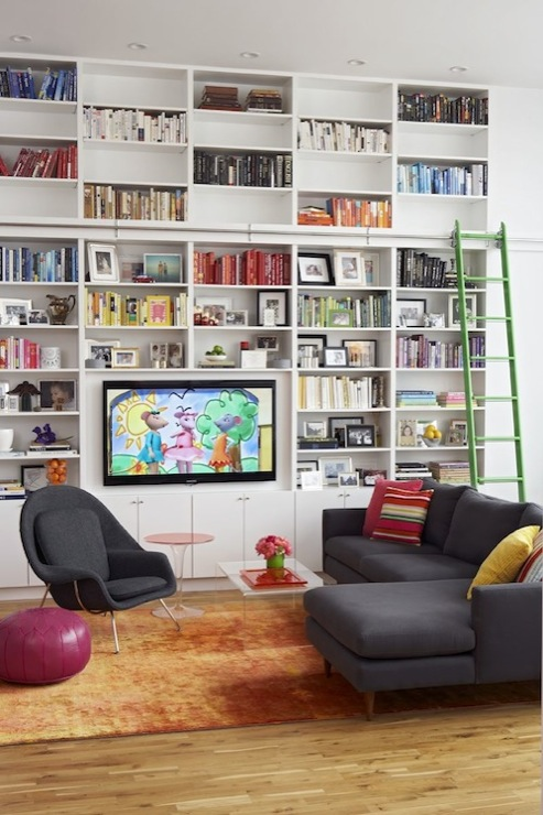 Built In Bookshelves Contemporary Media Room