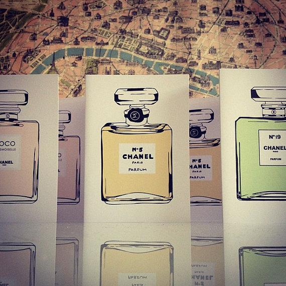 Chanel Perfume Illustration 6 Blank Note Cards By