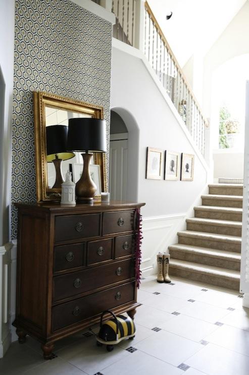 Foyer With Wallpaper : David hicks wallpaper transitional entrance foyer