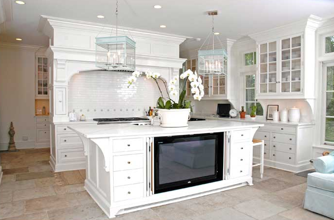 Kitchen island tv cottage kitchen farrow ball all white brooks falotico - All about kitchens ...