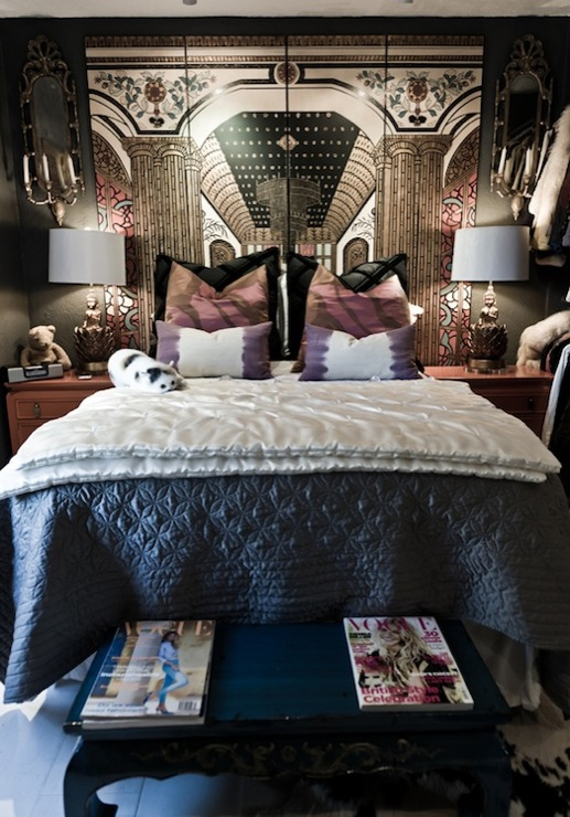 folding screen headboard eclectic bedroom rue magazine On screen bedroom