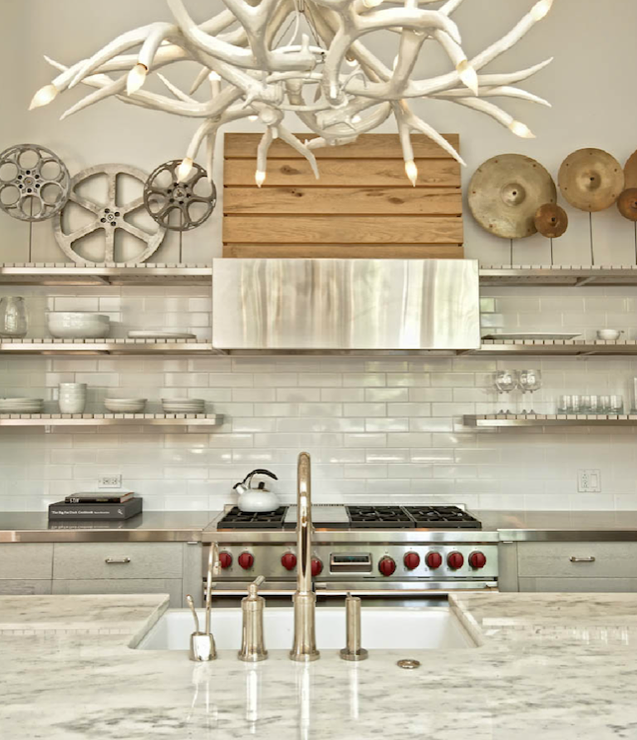 Floating Stainless Steel Shelves Kitchen Contemporary Kitchen Buckingham Interiors