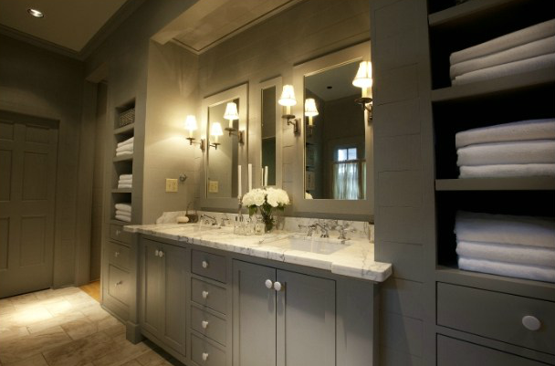 Bathroom Decor With Grey Walls : Gray double bathroom vanity design ideas