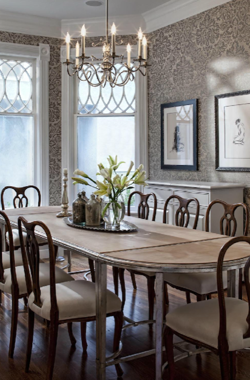 Swedish chairs transitional dining room buckingham for Dining room grey walls