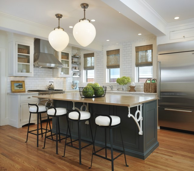 Dark Gray KItchen Island Transitional Kitchen Taste Interior - Light grey kitchen cabinets with black island