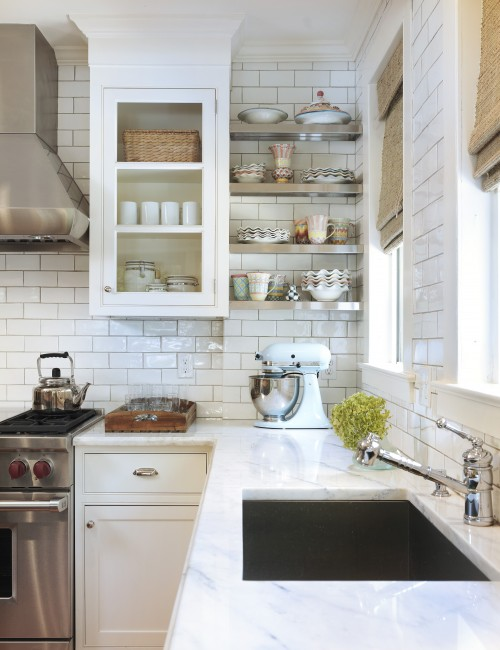 stunning classic kitchen with subway tile backsplash white glass front kitchen cabinets with marble countertops stainless steel floating shelves and - White Kitchen With Subway Tile Backsplas