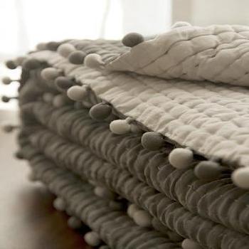 Audree Pom Pom Grey Quilt