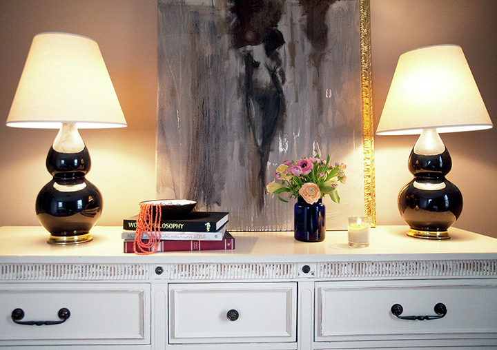 Chic Foyer Vignette With Robert Abbey Double Gourd Table Lamps In Black  Glazed Ceramic With Pearl Dupioni Fabric Shades, White Vintage Credenza  Dresser, ...