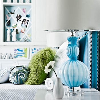 Turquoise Lamps, Contemporary, girl's room, Martensen Jones Interiors