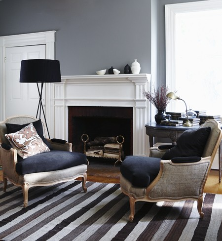 chic gray living room with gray walls paint color striped gray rug