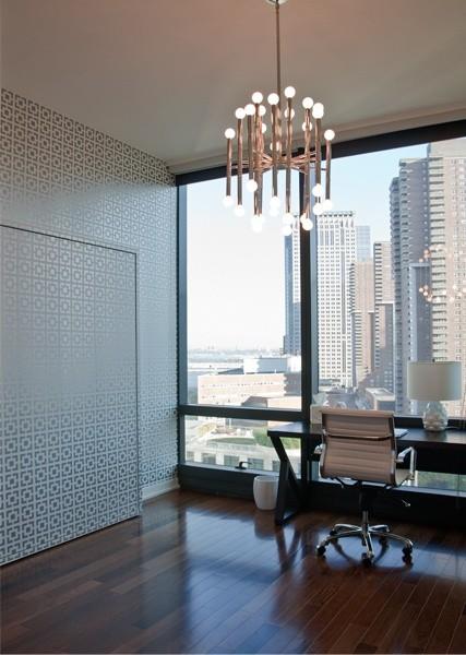Glorious Office/guest Bedroom With Murphy Bed, Gray Metallic Chain Link  Wallpaper, Jonathan Adler Meurice Chandelier, Ebony Desk And Eames Aluminum  ...