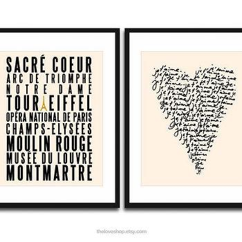My French Collection TWO Posters Paris City of by theloveshop