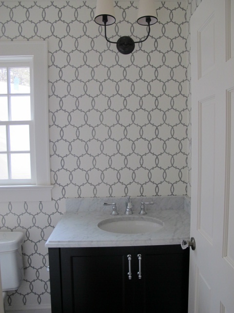 Tracery charcoal wallpaper transitional bathroom for Bathroom wallpaper