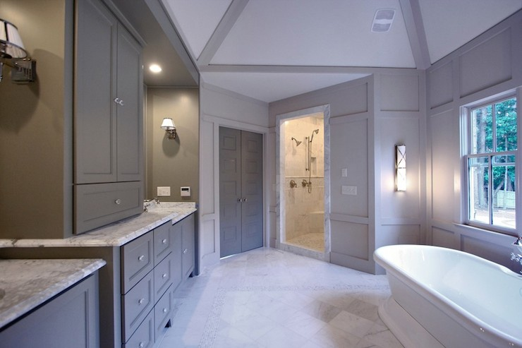 gray bathroom with gray walls paint color custom cabinets painted