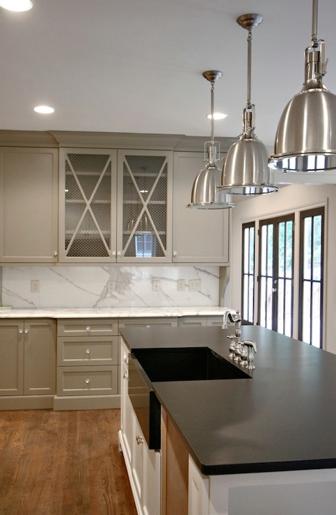 kitchen with warm gray cabinets painted Benjamin Moore Gettysburg Gray