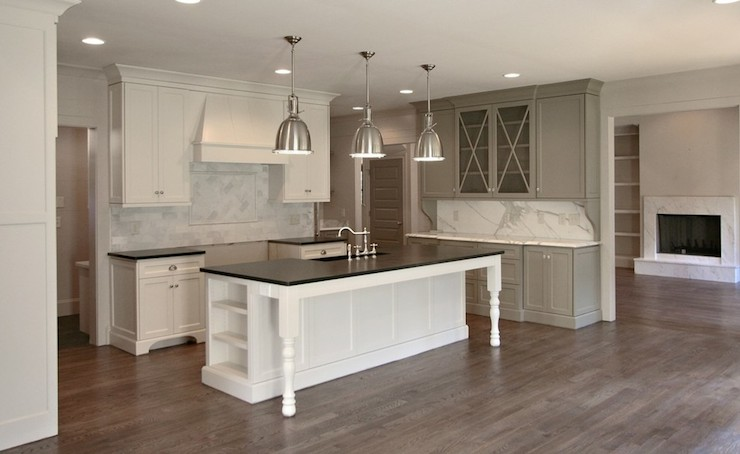 Gray cabinet paint colors transitional kitchen for Kitchen paint colors grey