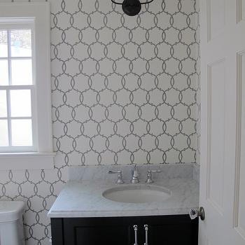 Gray bathroom cabinets transitional bathroom para for Schumacher chenonceau charcoal wallpaper