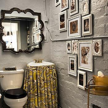 Gray and Yellow Bathroom, Transitional, bathroom, Inhabit Design