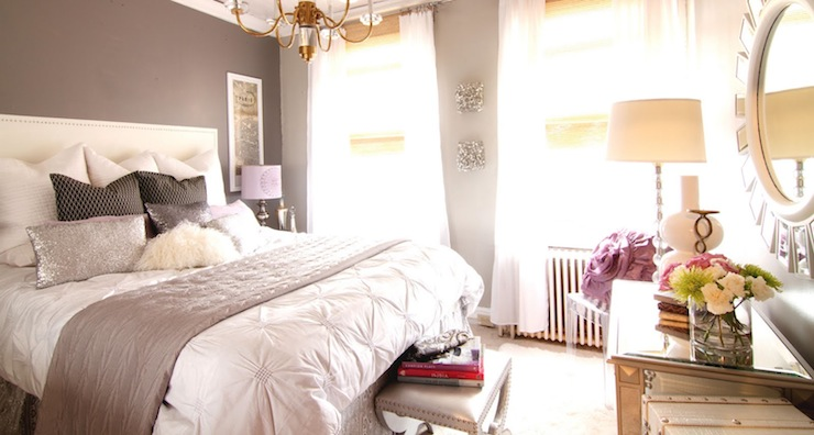 Chic, Sophisticated Teen Girlu0027s Bedroom With Gray Walls Paint Color, White  Nailhead Trim Headboard, West Elm Pin Tuck Duvet In White, Plum Silk Quilt,  ...
