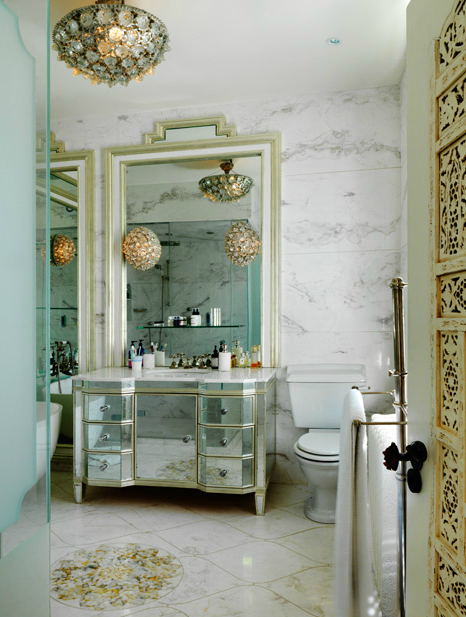 Exquisite Bathroom With Mirrored Vanity Marble Top Tiles Floor Backsplash And Shiny Flush Mount Chandelier