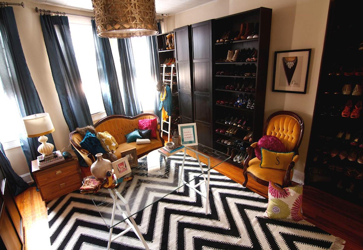 Black And White Chevron Rug Contemporary Closet