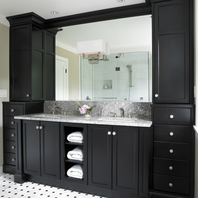 bathroom with ebony double bathroom vanity with marble countertop