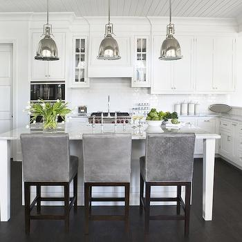 Gray Leather Bar Stools Transitional Kitchen Sherwin