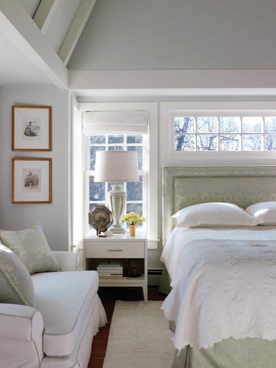 Silk damask headboard traditional bedroom new for New england bedroom