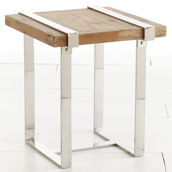 Natural wood and chrome side table tables