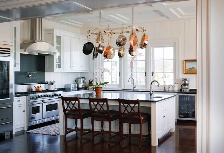 Island Pot Rack - Traditional - kitchen - New England Home